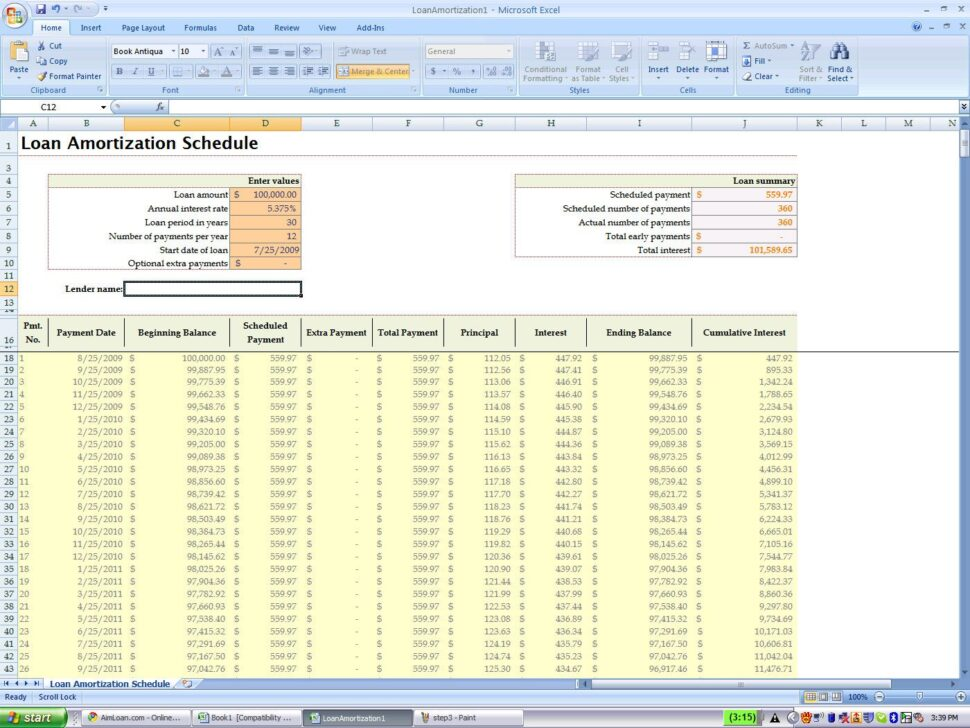 Large Size of Amortization Calculator Excel Spreadsheet