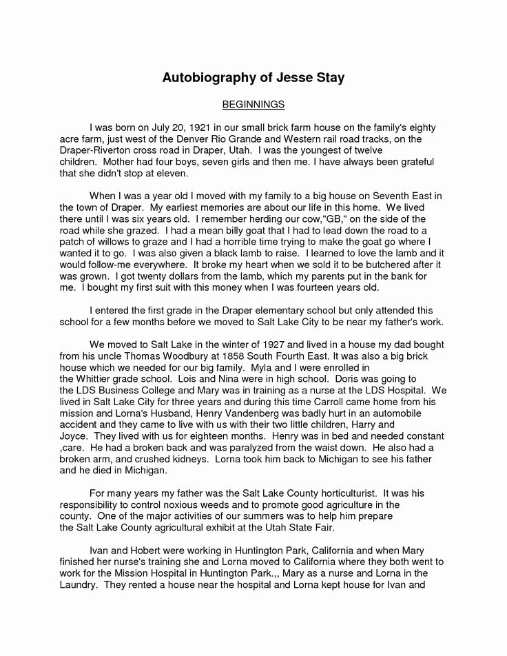 Full Size of Autobiography Example Essay About Yourself