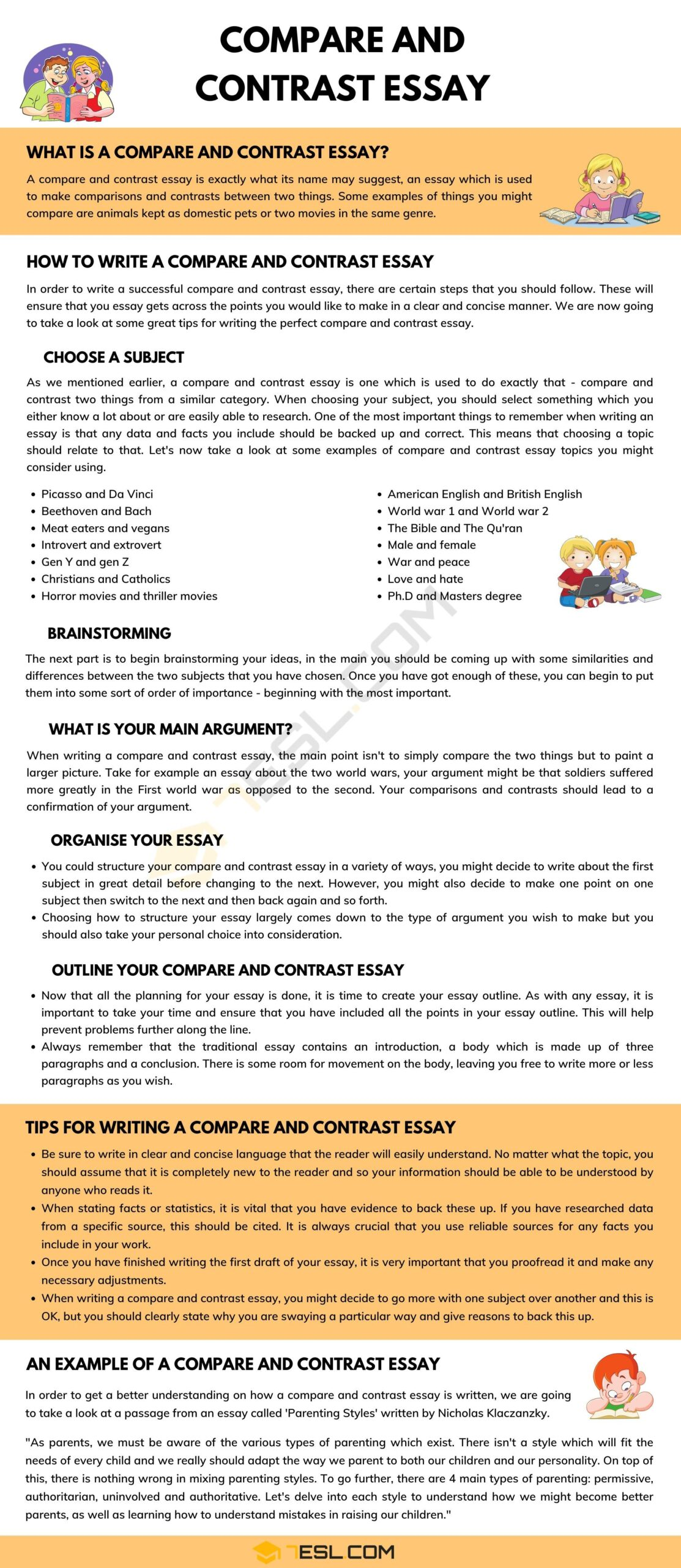 Full Size of How To Start A Compare And Contrast Essay Examples