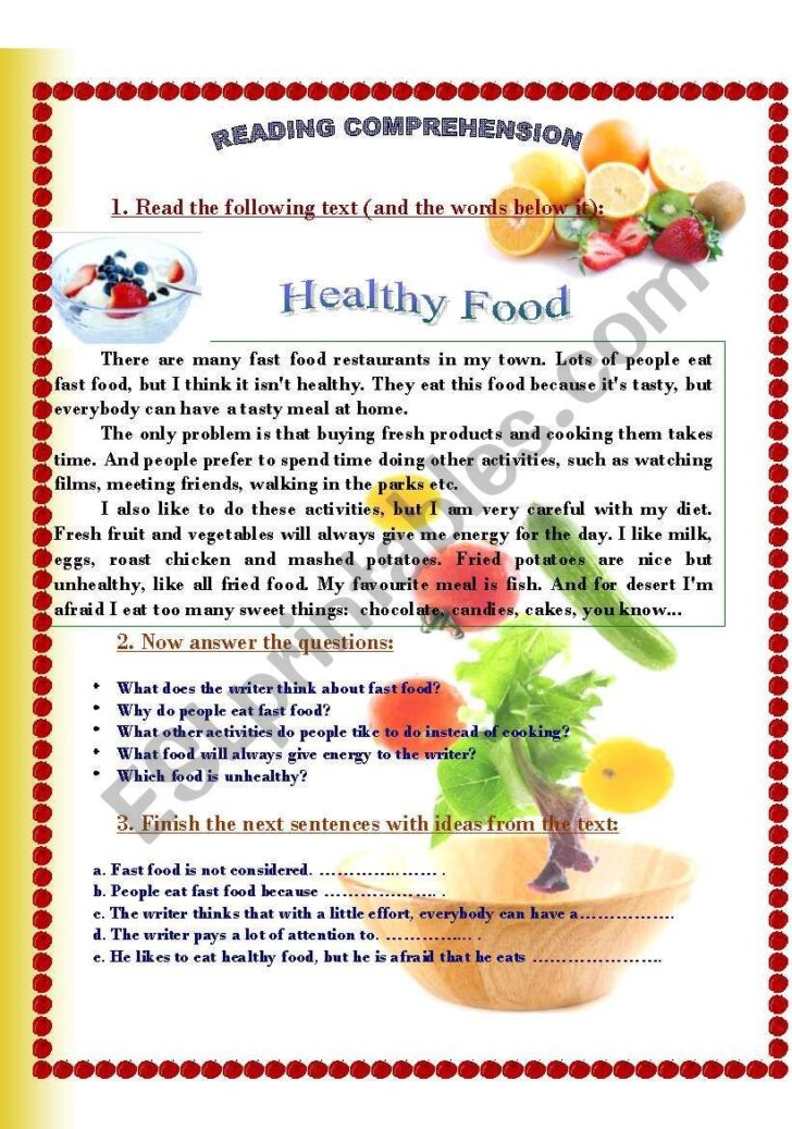 Healthy Food Essay For Kids