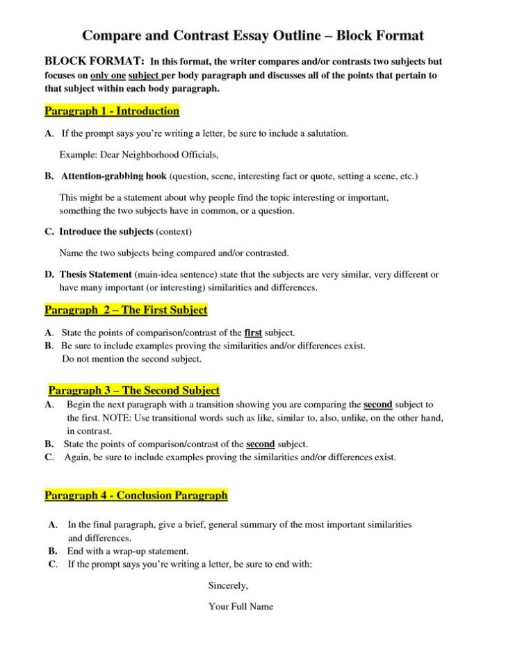 Compare And Contrast Paper Outline Example Essay