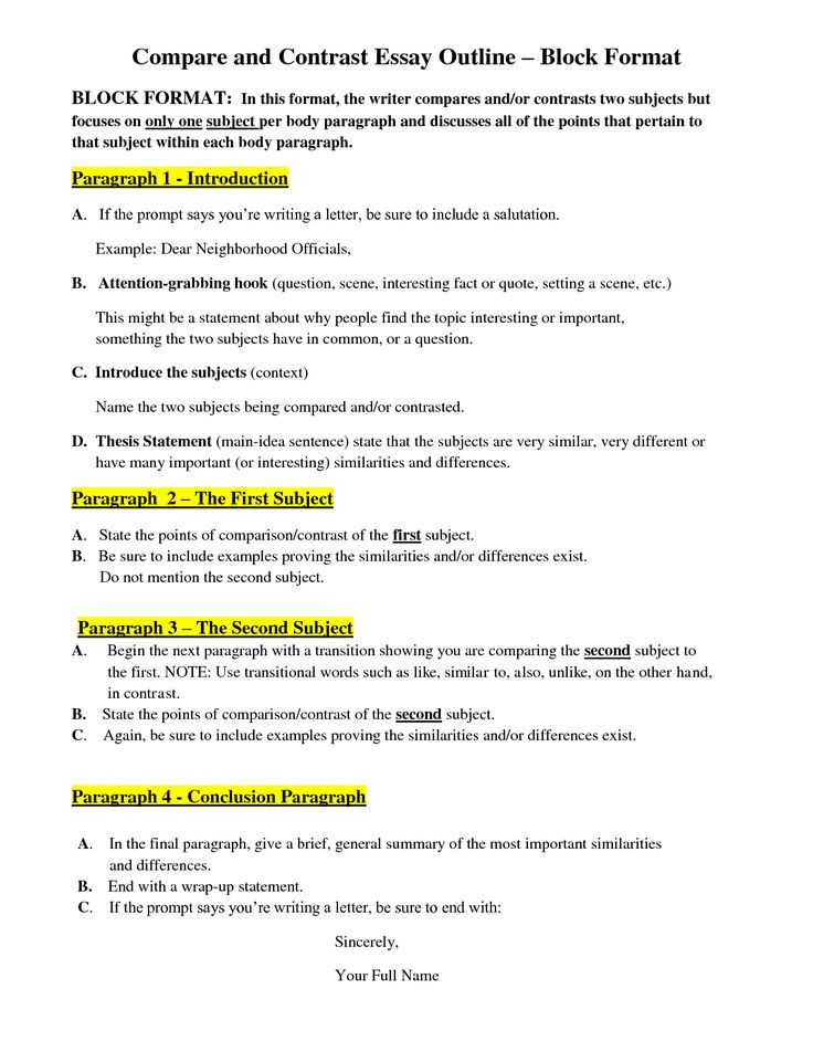 Full Size of Compare And Contrast Paper Outline Example Essay