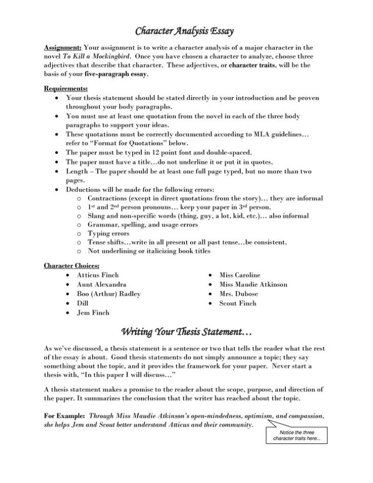 Character Trait Essay Examples