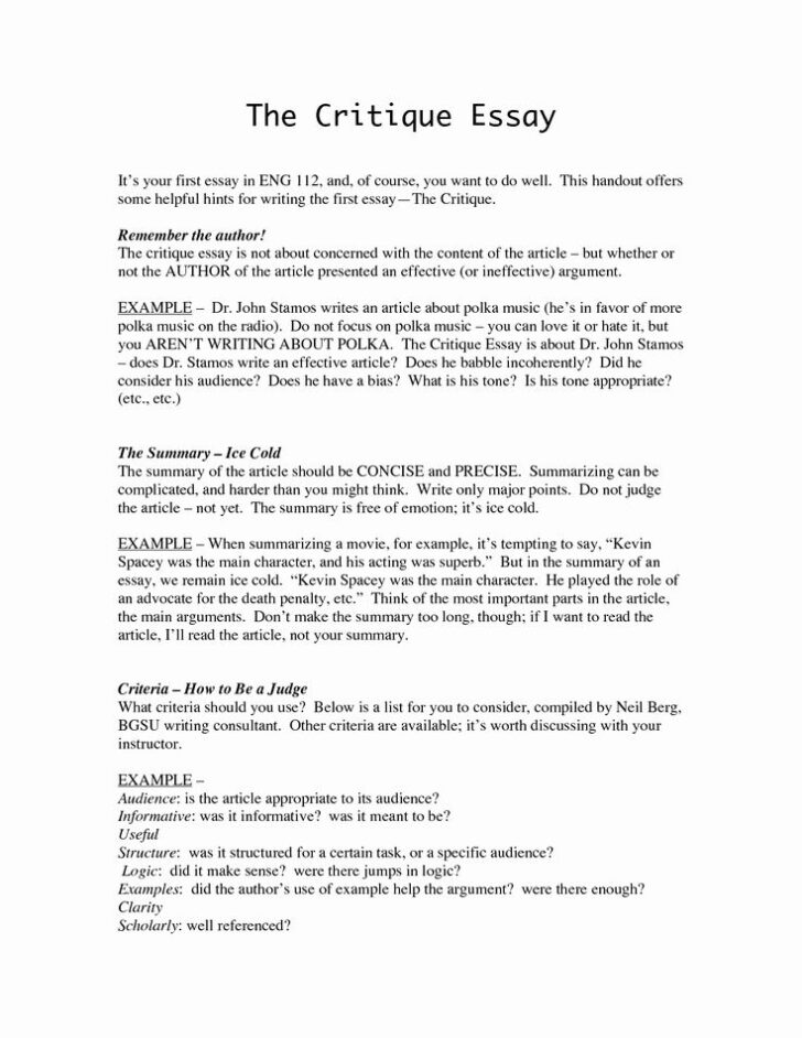 Critical Essay Example Introduction