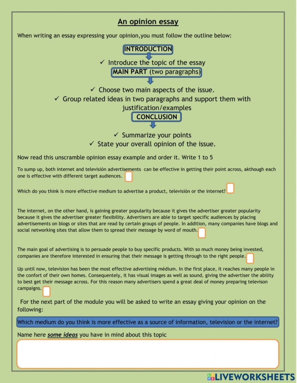 Large Size of An Opinion Essay Worksheet Introduction Problem Solution Topics Persuasive Format Honesty