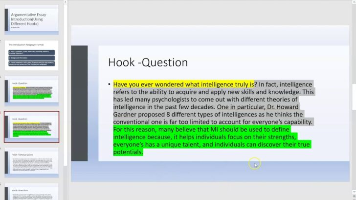 Argumentative Essay Introduction Hooks Hook In An Literary My Classroom Compare And