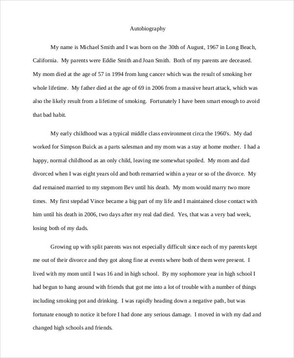 Full Size of Autobiography Examples Pdf Writing Template Essay Example My Personality Mba Diagnostic