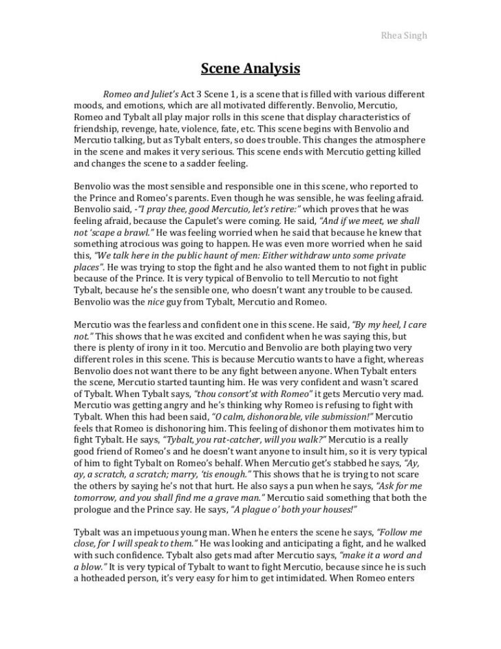 Romeo And Juliet Analytical Essay Example