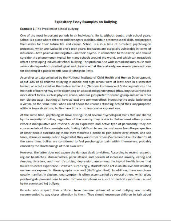 Full Size of Best Expository Essay Examples For Students Of All Levels Explanatory Example On Bullying