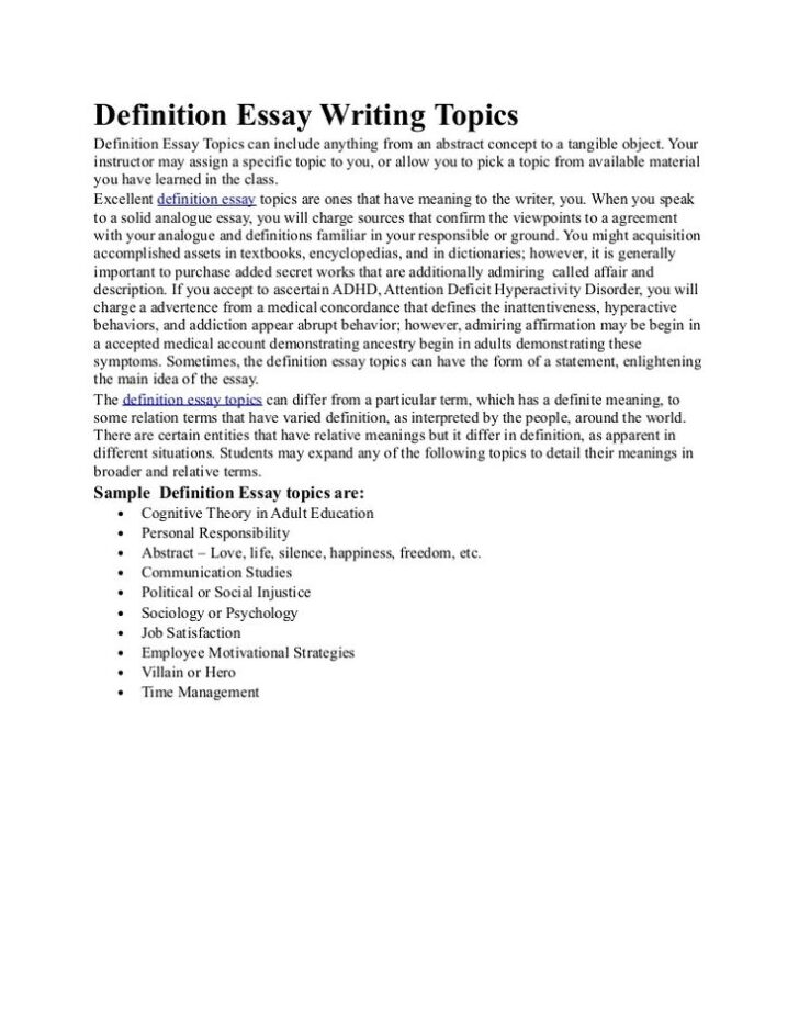 What Is A Definition Essay Topics