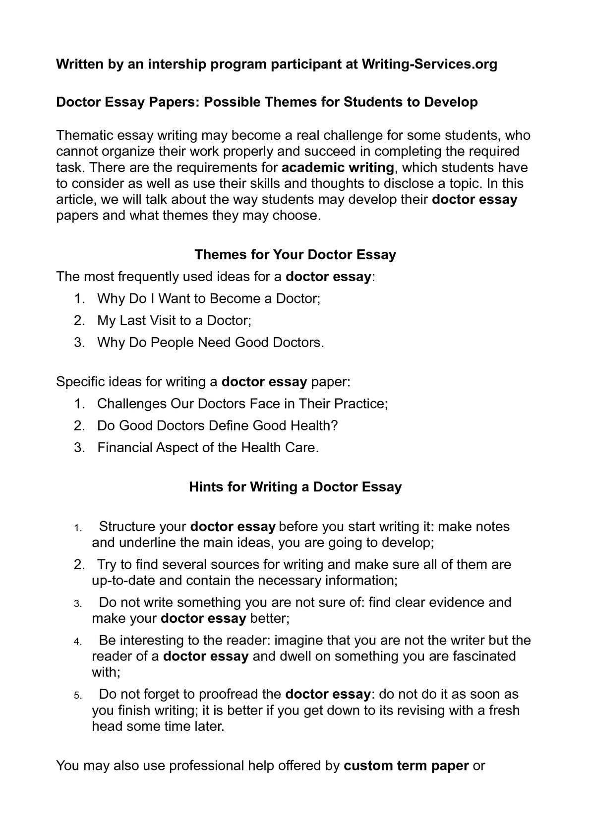 Full Size of Calaméo Doctor Essay Papers Possible Themes For Students To Develop Want Become P1 I A