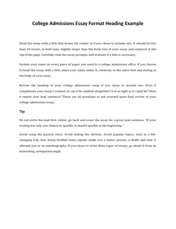 Full Size of College Application Essay Format Guideline Examples For Admissions Heading Example Sat