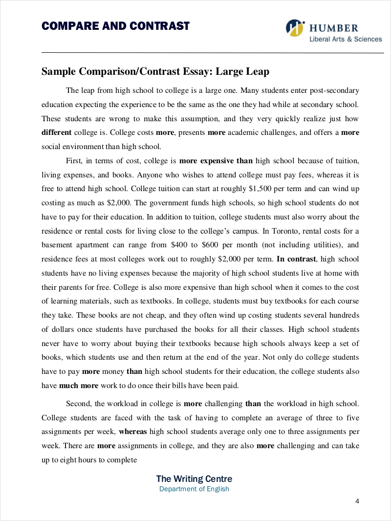 Full Size of Comparative Essay Samples Free Pdf Format Examples Compare And Contrast Printable Sample1