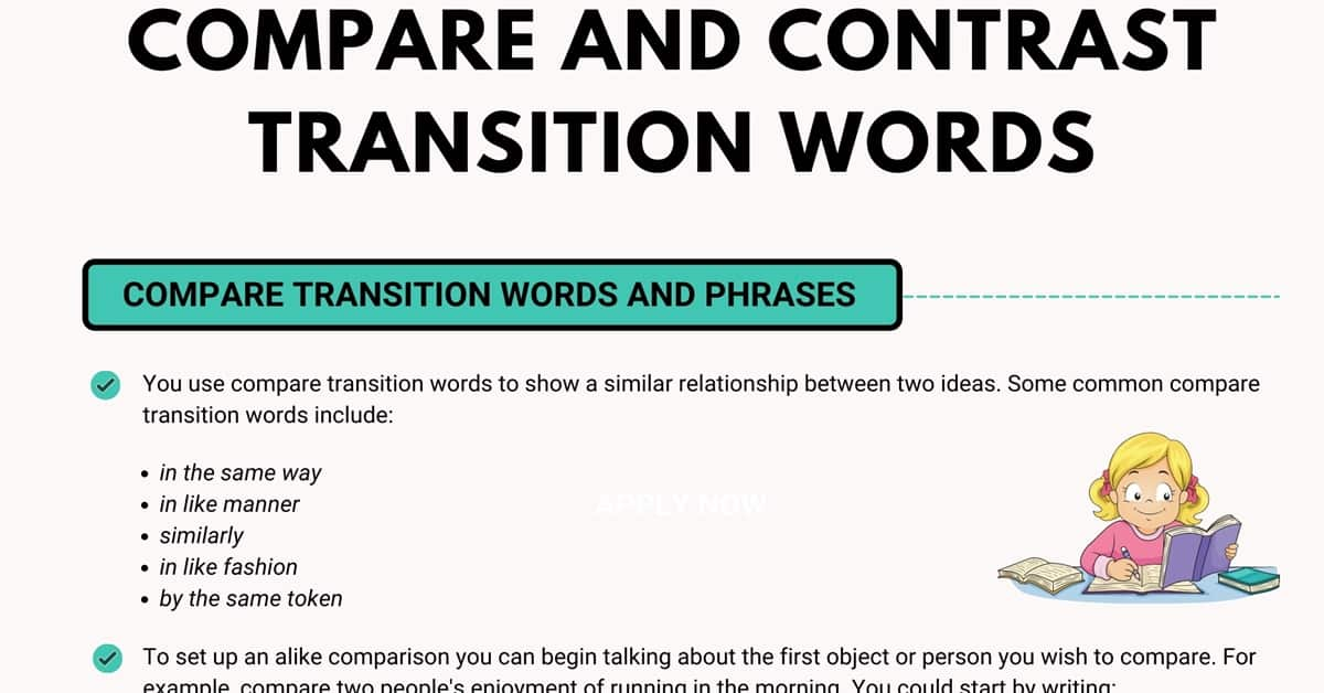 Full Size of Compare And Contrast Transition Words In English 7esl Comparison Reflective Essay Sample