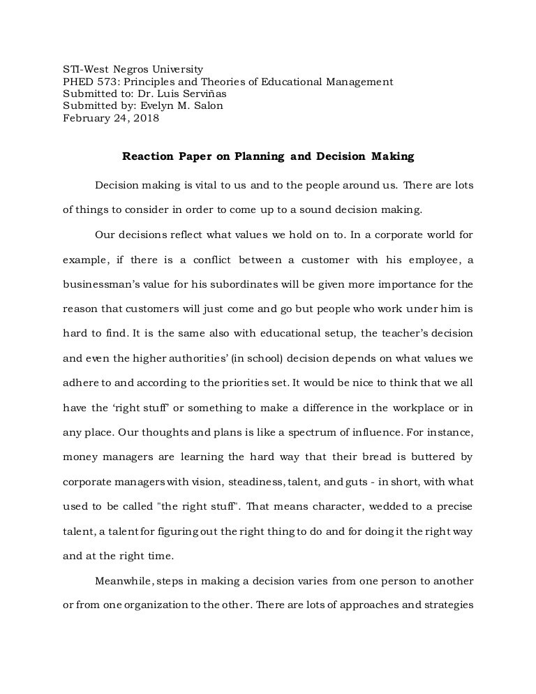 Full Size of Decision Making Reaction Paper Short Example Decisionmakingreactionpaper Thumbnail Word Essay