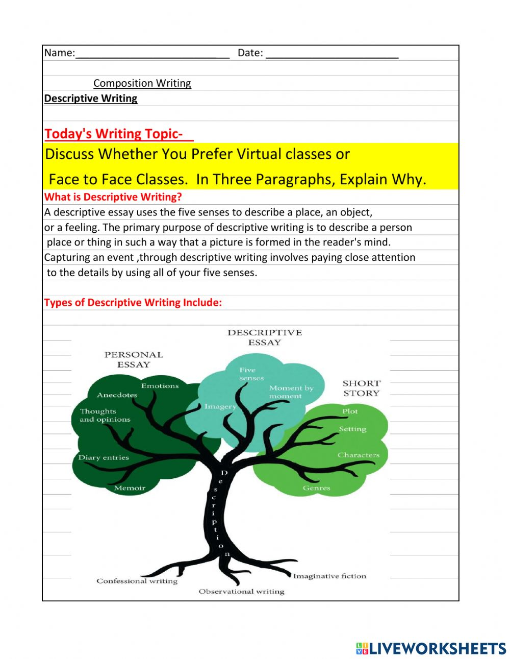 Full Size of Descriptive Writing Worksheet Success Essay Diversity Example Of Easy Photo Free