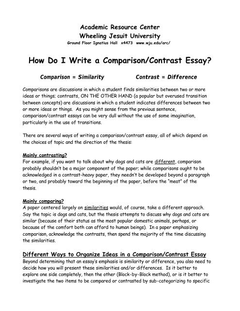 Full Size of Do Write Comparison Contrast Essay Wheeling Jesuit And Mit Process Literary Writing