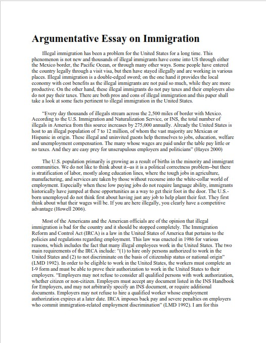 Full Size of Easy Argumentative Essay Examples For Students Sample On Immigration Types Of Writing