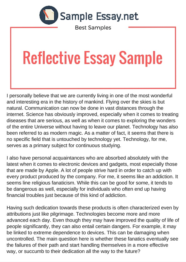 Example Of Reflective Essay That Really Stand Out By Sample Medium Reflection Bp0e5x