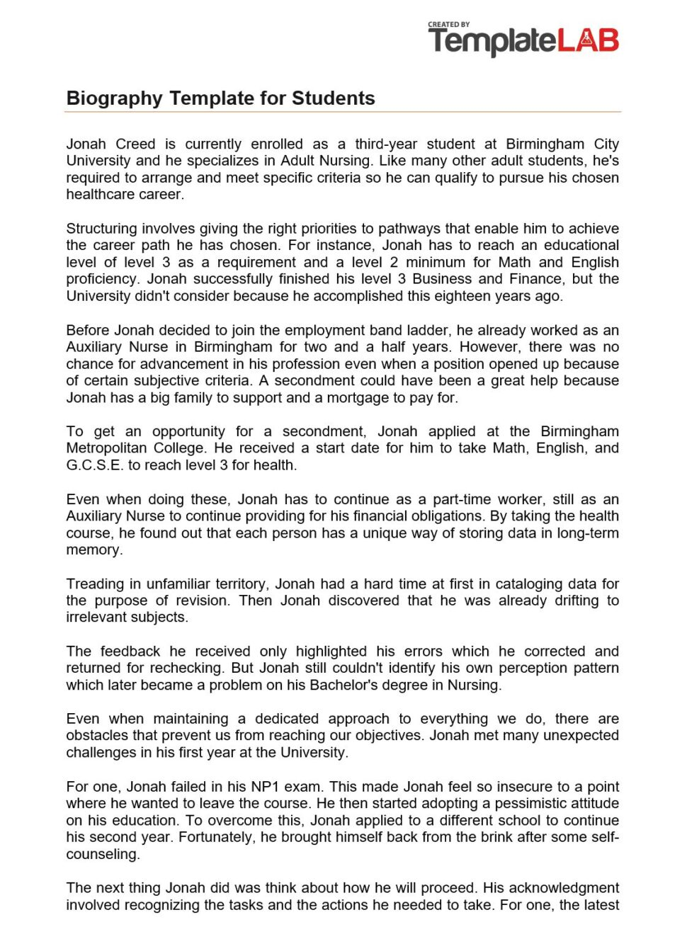 Large Size of One Page Autobiography Essay Example