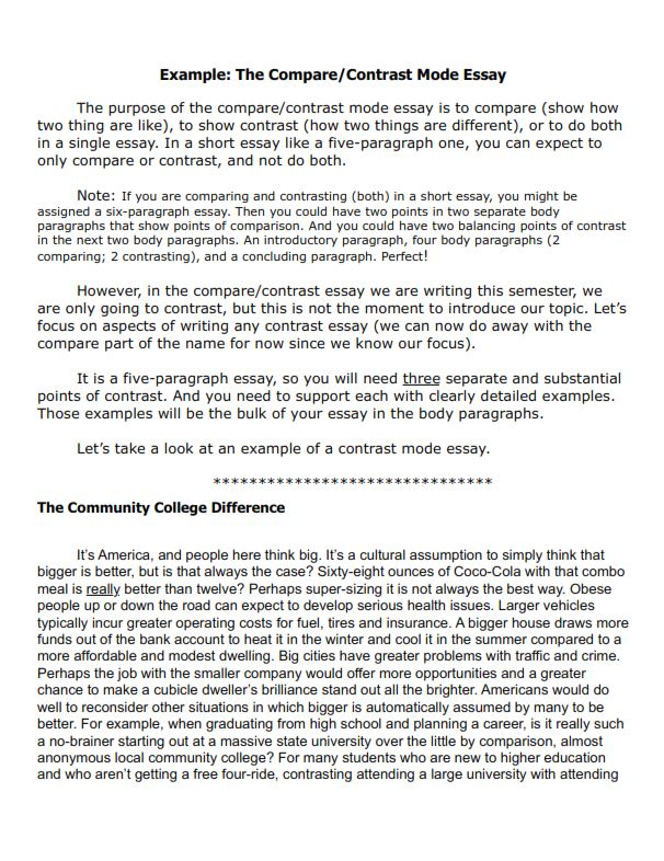 Full Size of Free Compare And Contrast Essay Examples For Your Help College Comparative Example Short