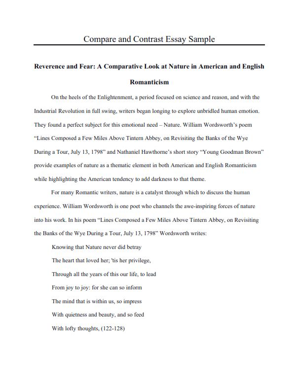 Full Size of Free Compare And Contrast Essay Examples For Your Help High School Comparative Example