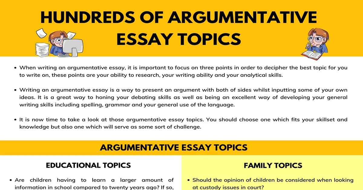 Full Size of Hundreds Of Argumentative Essay Topics For Any Assignment 7esl Topic An Essays That