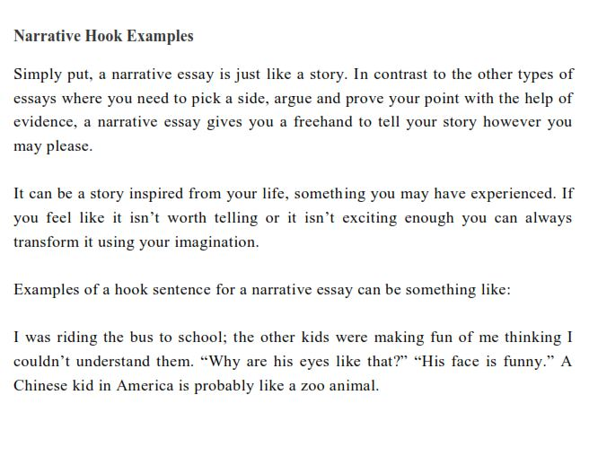 Full Size of Interesting Hook Examples To Start Your Essay In An Example For Narrative Literary Paper