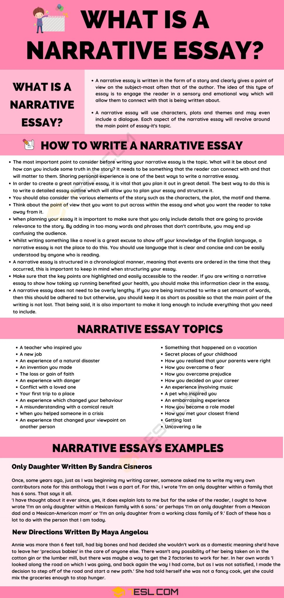 Large Size of Is Narrative Essay Examples And Writing Tips 7esl Skills Academic Example Sat Score What A