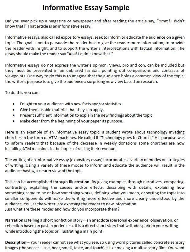 Learn To Write An Impressive Informative Essay Examples Sample Apa Paper Example College