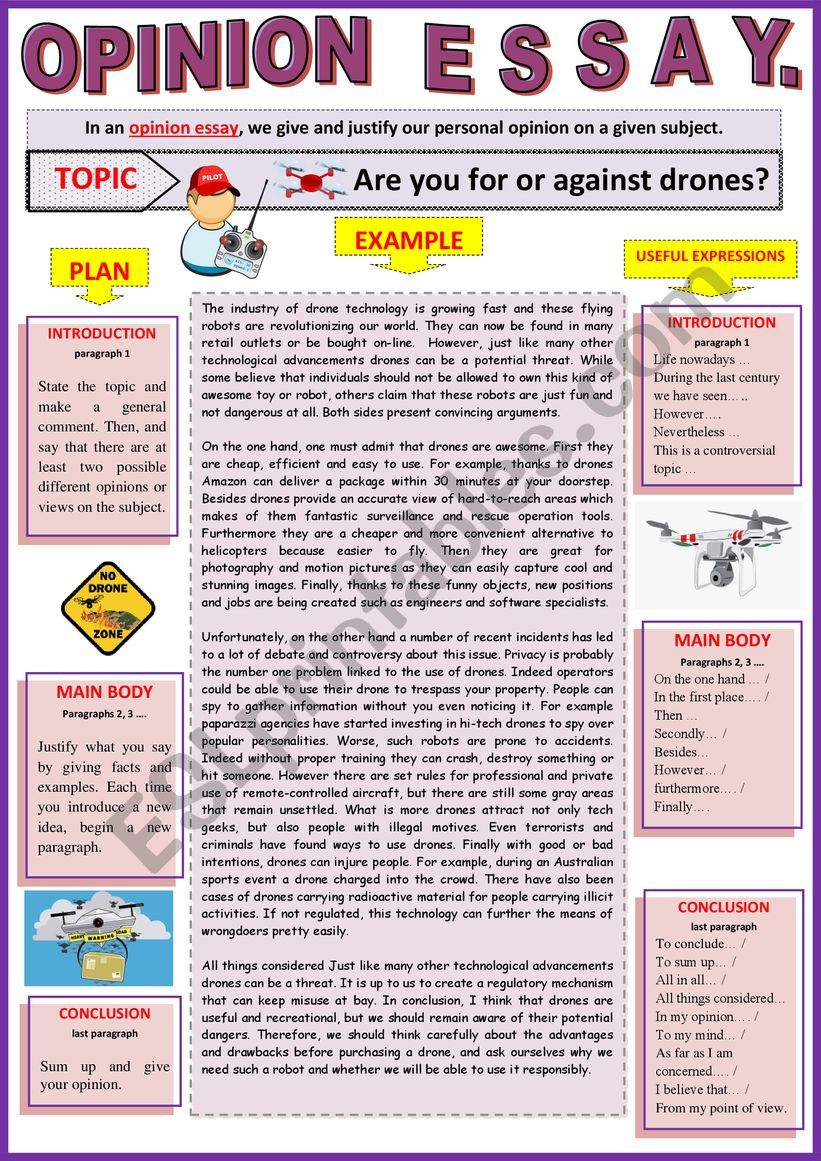 Full Size of Opinion Essay For Or Against Drones Guided Writing Example Esl Worksheet By Karagozian