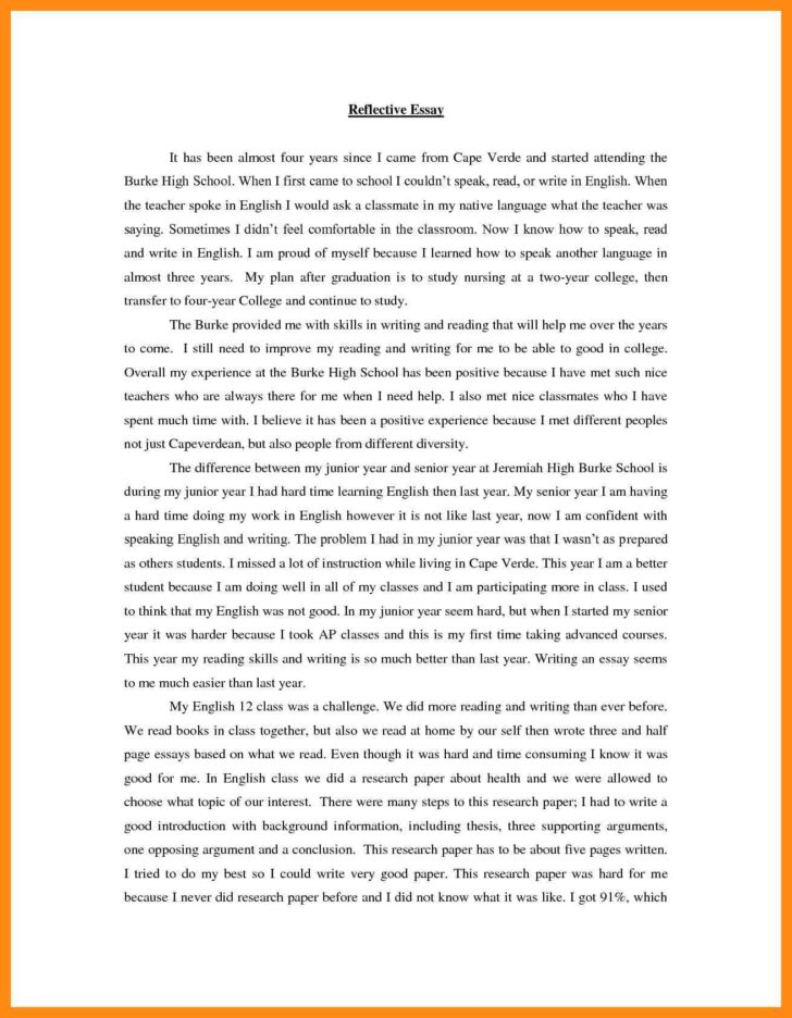 Medium Size of Reflective Essay Examples Pdf Reflection Example English Of Photo Sqa Higher Personal