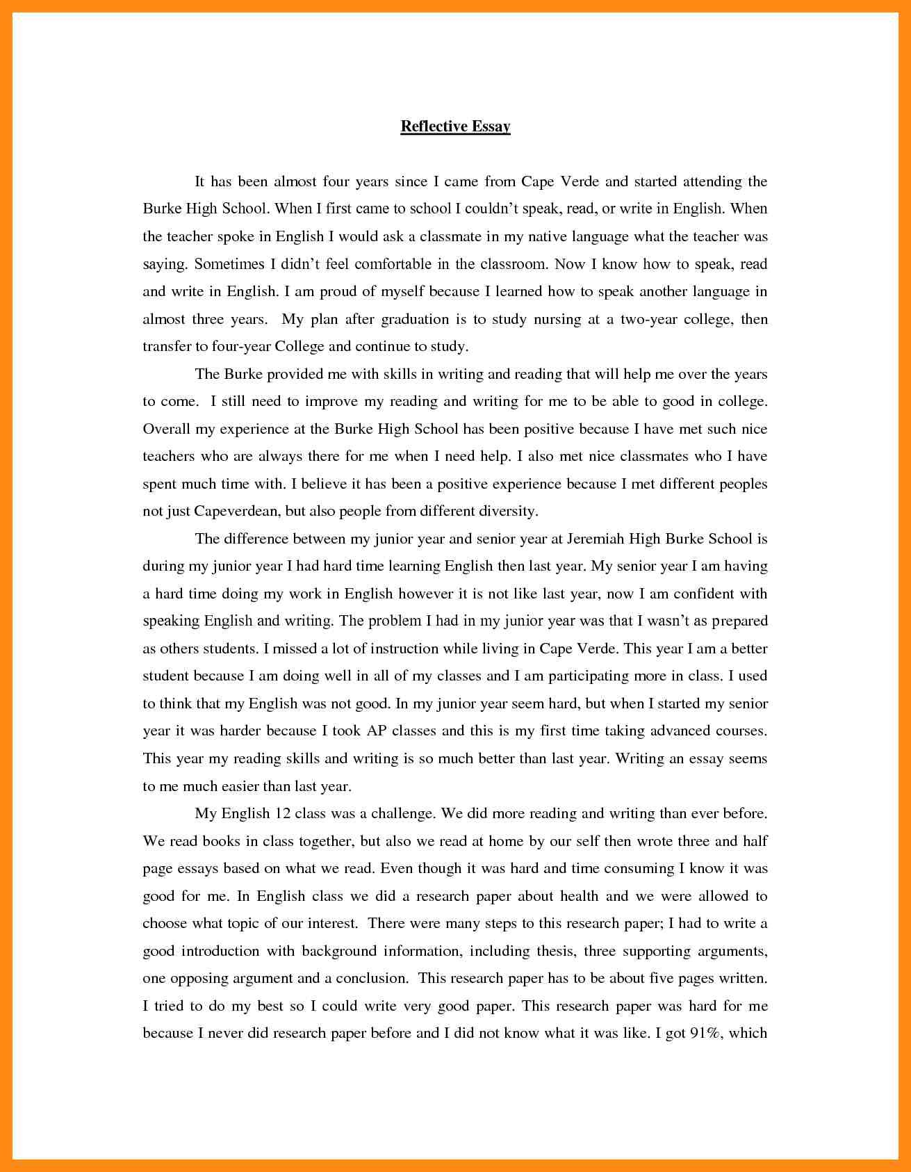Full Size of Reflective Essay Examples Pdf Reflection Example English Of Photo Sqa Higher Personal
