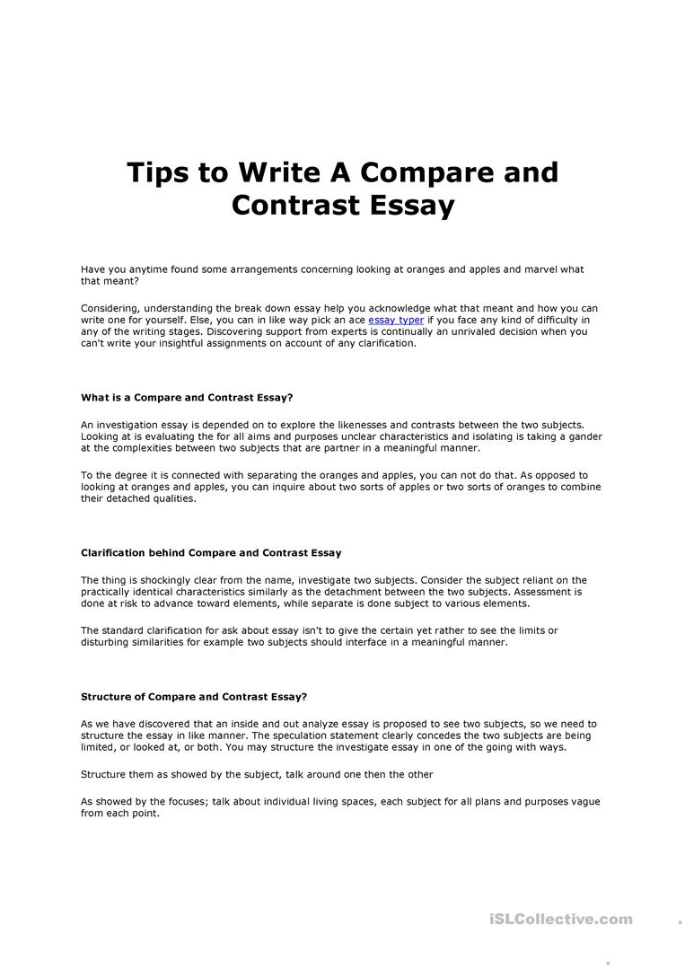 Full Size of Tips To Write Compare And Contrast Essay English Esl Worksheets For Distance Learning